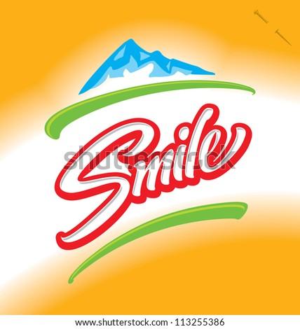 'smile' hand lettering - handmade calligraphy, vector (eps8) - stock vector