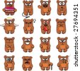16 smiley bears individually grouped for easy copy-n-paste. - stock photo