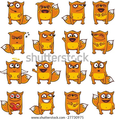 16 smiley foxes individually grouped for easy copy-n-paste. (1) - stock vector