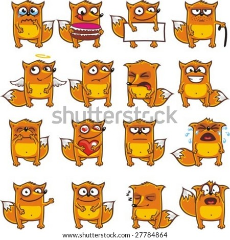 16 smiley foxes individually grouped for easy copy-n-paste. (2) - stock vector