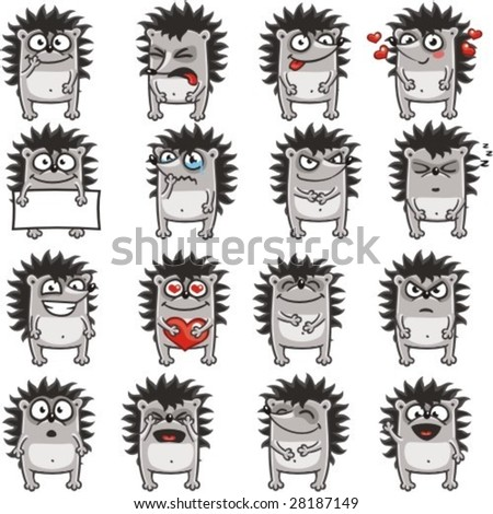 16 smiley hedgehogs individually grouped for easy copy-n-paste.(2) - stock vector