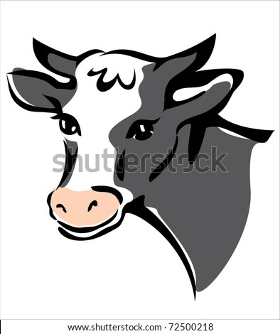 smiling cow portrait isolated illustration - stock vector