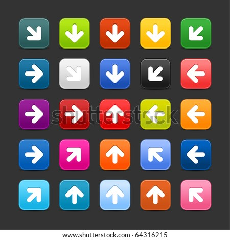 25 smooth satined web 2.0 button with arrow sign. Colorful rounded square shapes with shadow on gray background - stock vector