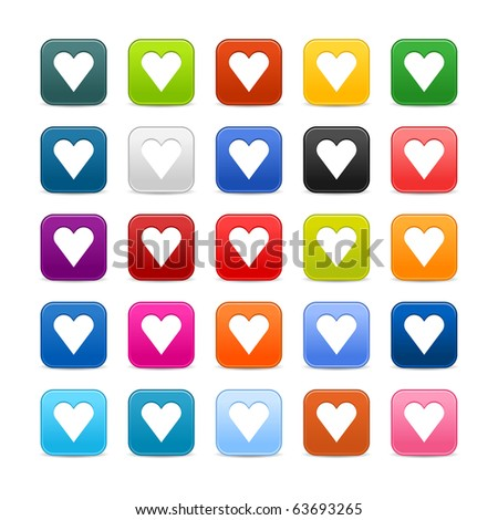 25 smooth satined web 2.0 button with heart sign on white background. Colorful rounded square shapes with shadow - stock vector