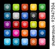 25 smooth satined web 2.0 button with low temperature sign snowflake symbol. Colored rounded square shapes with color reflection on black background. This vector illustration saved in 8 eps - stock photo