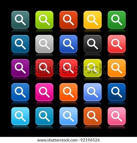 25 smooth satined web 2.0 button with magnifying glass sign. Colored rounded square shapes with reflection on black background. This vector illustration saved in 8 eps - stock vector