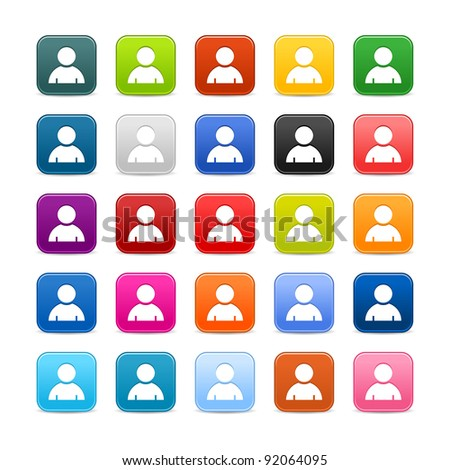25 smooth satined web 2.0 button with user profile sign. Colored rounded square shapes with gray shadow on white background. This vector illustration saved in 8 eps - stock vector