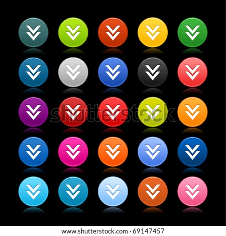25 smooth web 2.0 button with download sign. Colored round shape with reflection on black background - stock vector