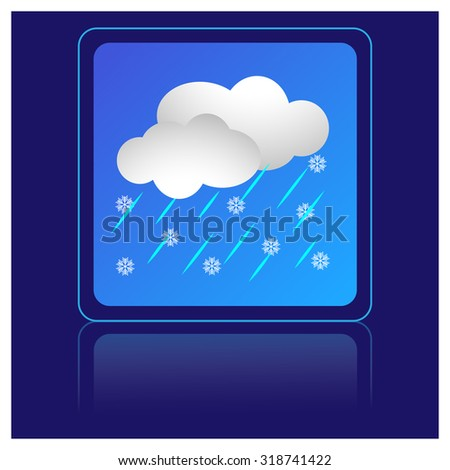 snow and rain, weather icon - stock vector