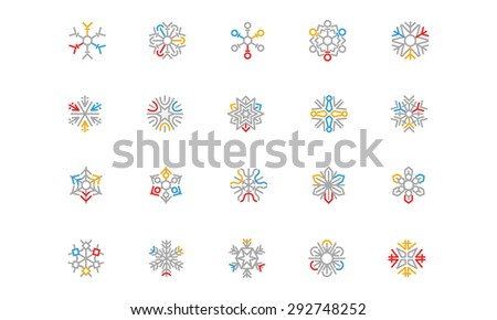Snowflake Colored Outline Vector Icons 3