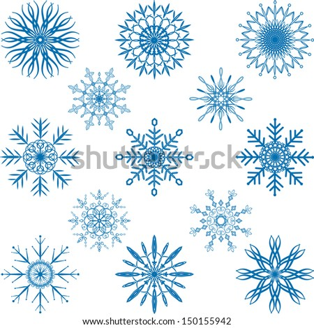 Snowflake Vector Set - stock vector