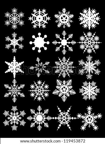 18 Snowflake Vectors - stock vector