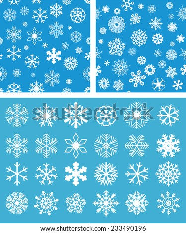 2 Snowflakes Seamless Background with snowflakes set - stock vector