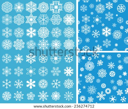 2 Snowflakes Seamless Background with snowflakes set - stock vector
