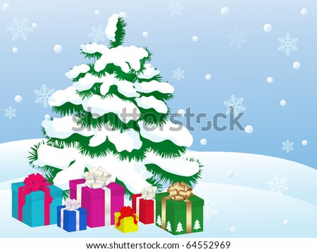 snowy winter landscape with christmas tree - stock vector