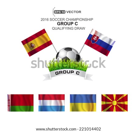 2016 SOCCER CHAMPIONSHIP GROUP C QUALIFYING STAGE - stock vector