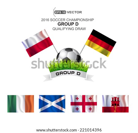 2016 SOCCER CHAMPIONSHIP GROUP D QUALIFYING STAGE - stock vector