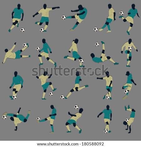 20 Soccer Silhouette - stock vector