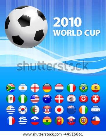 2010 Soccer World Cup with Flag Buttons Original Vector Illustration - stock vector