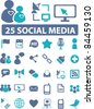 25 social media & blog icons, signs, vector illustrations set - stock vector