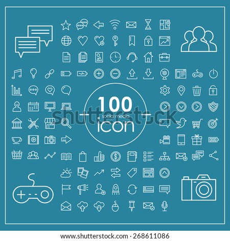 100 social media icons set over blue background - stock vector