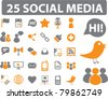 25 social media icons, signs, vector - stock photo