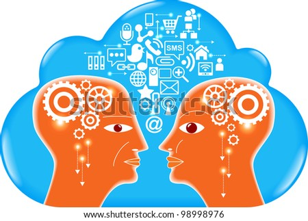 social network, communication in the global computer networks, File is saved in AI10 EPS version. This illustration contains a transparency - stock vector