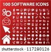 100 software icons set, vector - stock vector