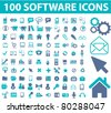100 software icons, signs, vector - stock vector