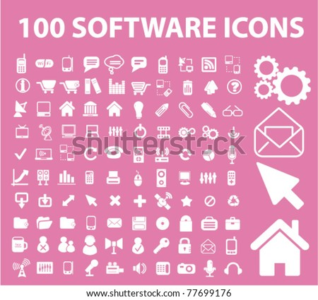 100 software icons, vector - stock vector