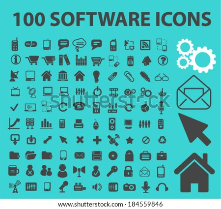 100 software, interface icons, signs set for website, apps, internet design - stock vector