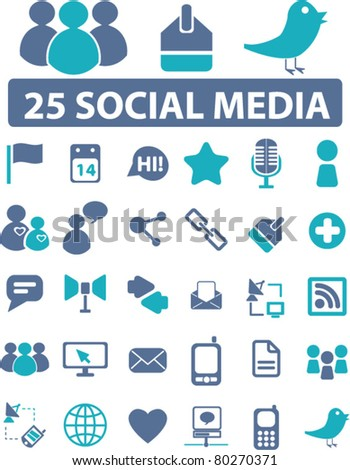 25 soical media icons, signs, vector illustrations - stock vector