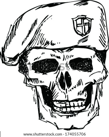 soldier skull in beret with doodle style - stock vector
