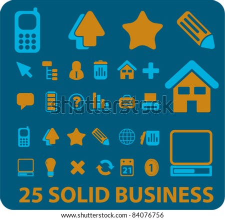 25 solid business icons, signs, vector illustrations - stock vector