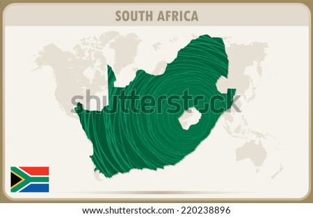 SOUTH AFRICA  map graphic, Vector.