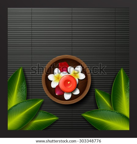 spa background. spa background with tropical flowers and stone spa candle. Summer tropical green leaves - stock vector
