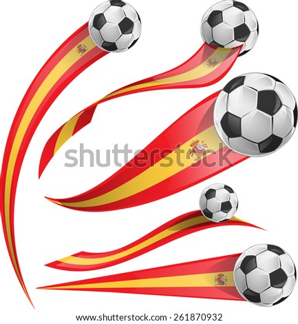 spain flag set with soccer ball - stock vector