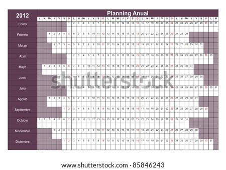 2012 Spanish calendar. Annual Planner. Week starts on Monday - stock vector