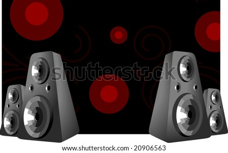 speakers in a black design background
