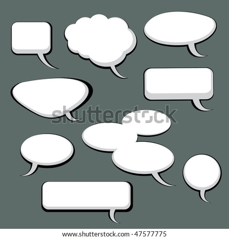 9 Speech And Thought Bubbles - stock vector