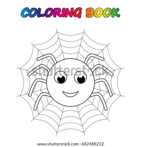 Spider Coloring Book Page Educate Stock Photo