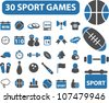 30 sport games icons set, vector - stock vector