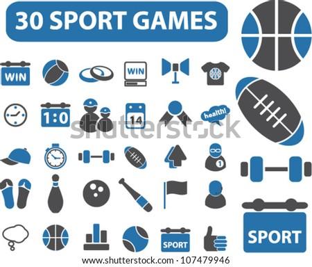 30 sport games icons set, vector - stock vector