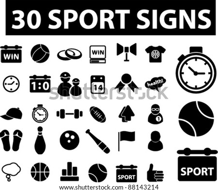 30 sport icons, signs, vector illustrations set - stock vector
