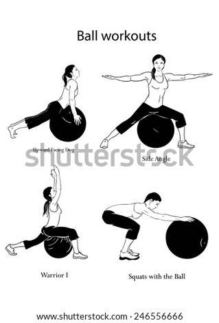 4 sport woman silhouettes doing exercises on a ball - stock vector