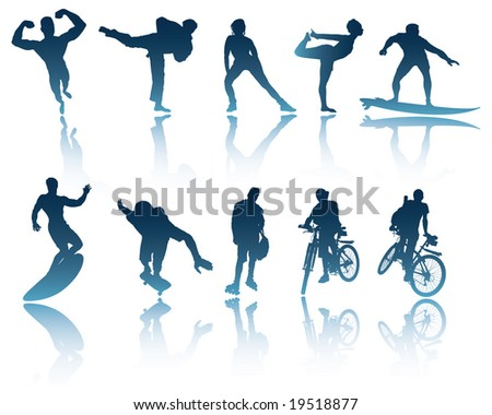 10 Sports and Fitness silhouettes with shadows / reflections to use in your designs - stock vector