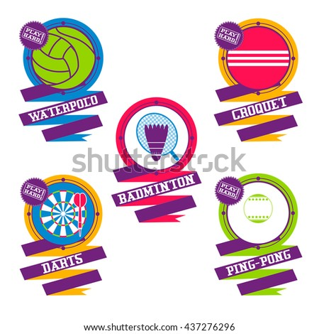 Sports Balls logo.  Croquet, badminton, darts, water polo, ping pong. - stock vector