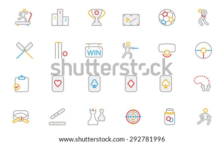 Sports Colored Outline Vector Icons 4  - stock vector