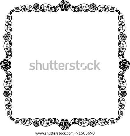 square frame roses - stock vector