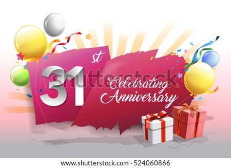 31st anniversary celebration with colorful confetti and balloon on red background with shiny elements. design template for your birthday party.
